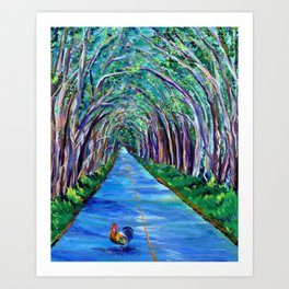 Tree Tunnel with Rooster Art Print