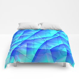 Abstract celestial pattern of blue and luminous plates of triangles and irregularly shaped lines. Comforters