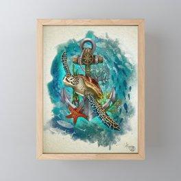 Turtle and Sea Framed Mini Art Print