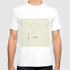 ANALOG zine, Retro white music cassette and blue heart shaped tape on beige background Mens Fitted Tee White MEDIUM