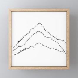 Tallest Mountains in the World B&W / Mt Everest K2 Kanchenjunga / Minimalist Line Drawing Art Print Framed Mini Art Print