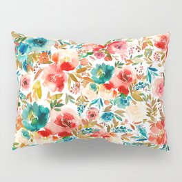 Red Turquoise Teal Floral Watercolor Pillow Sham