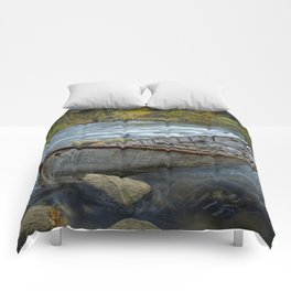 Canoe on the Thornapple River in Autumn Comforters