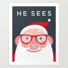 Santa Sees (2) Art Print