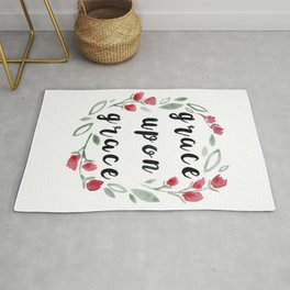 Grace Upon Grace, Floral Watercolor Painting Rug