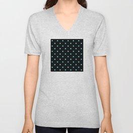 Trendy Aqua-Green Dot Pattern on Black Unisex V-Neck