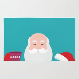 Have a A delightful cup of Christmas with Santa Claus Rug