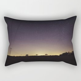 Star filled sky with tree silhouettes on the horizon. Norfolk, UK. Rectangular Pillow