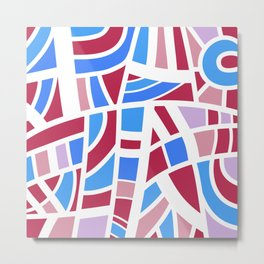 Broken Pink And Blue Abstract Metal Print