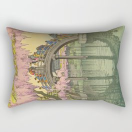Kameido Bridge Hiroshi Yoshida Vintage Japanese Woodblock Print Rectangular Pillow