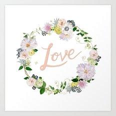 Love Pink Flower Wreath Art Print
