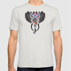 Asian Elephant Mens Fitted Tee Silver LARGE