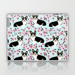 Welsh corgi tricolored cherry blossoms botanical florals japanese flowers dog breed corgis Laptop & iPad Skin