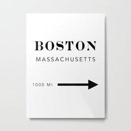 Boston Massachusetts City Miles Arrow Metal Print