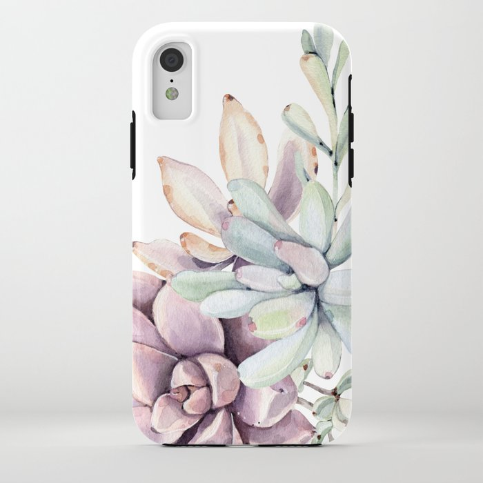 Desert Succulents on White iPhone Case