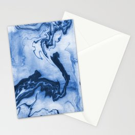 Chiharu - spilled ink marble paper marbling texture swirl indigo water ocean nature pool wave tide Stationery Cards
