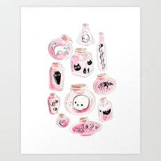 Pastel Witchy Bottles Art Print