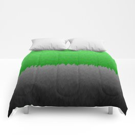 Bright Green to Gray Ombre Flames Comforters