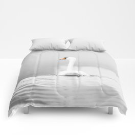 Swan in mist Comforters