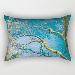Amazing colors of mossy tree and deep lake at Jiuzhaigou Park Rectangular Pillow