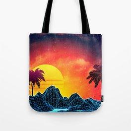 Sunset Vaporwave landscape with rocks and palms Tote Bag