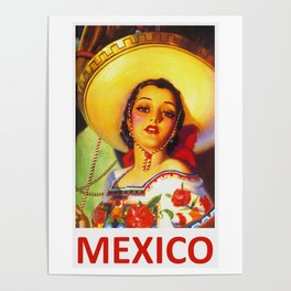 Vintage Mexico Travel Poster Poster