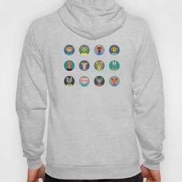 Chinese zodiac collection, Set of animals faces circle icons in Trendy Flat Style Hoody
