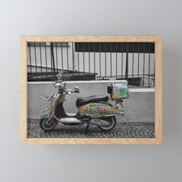 Cannes French Riviera Vintage Scooter Photography Framed Mini Art Print