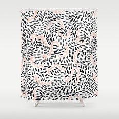 Helena - black white rose quartz abstract squiggle dot mark making painting brushstrokes minimal  Shower Curtain