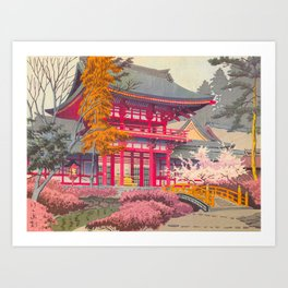 Japanese Woodblock Print Vintage Bright East Asian Red Pagoda Spring Garden Art Print