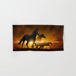 Wild Black Horses Hand & Bath Towel