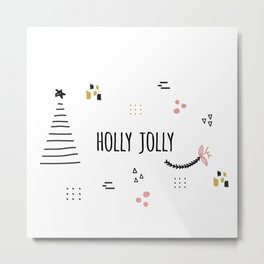 Minimal Holiday Designs :: Holly Jolly Metal Print