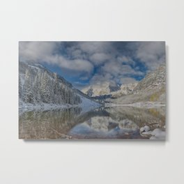 Maroon Bells Reflection In The Maroon Lake With Fresh Snow Aspen Colorado Usa for #society6 Metal Print