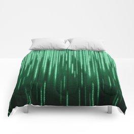 Green Binary Rain Comforters