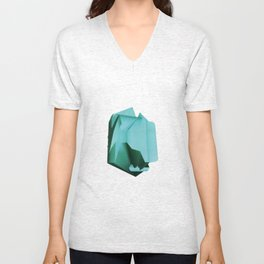 3D turquoise flying object  Unisex V-Neck