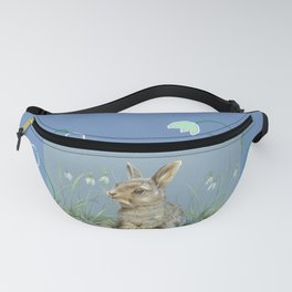 Baby bunny Spring scene Illustration Pastel drawing Fanny Pack