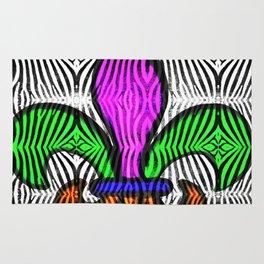 Fleur De Lis Zebra Print Rug
