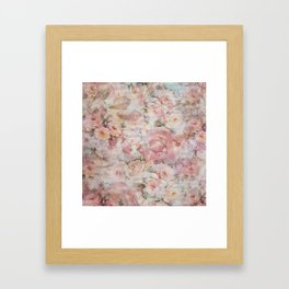 Vintage elegant blush pink collage floral typography Framed Art Print