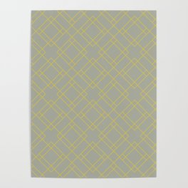 Simply Mod Diamond Mod Yellow on Retro Gray Poster