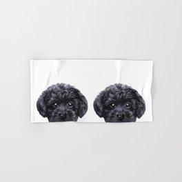 Black toy poodle Dog illustration original painting print Hand & Bath Towel