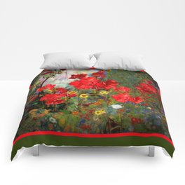 Red Geraniums Spring Florals Moss Green pattern Abstract Comforters