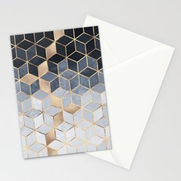 Soft Blue Gradient Cubes Stationery Cards