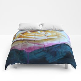 Pink and Yellow Rose painting Comforters