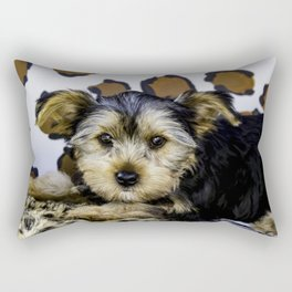Yorkshire Terrier Puppy with Large Ears in front of a Leopard Print Background Rectangular Pillow
