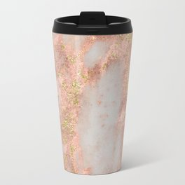 Rose Gold Marble with Yellow Gold Glitter Metal Travel Mug