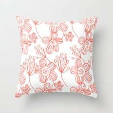 orange flowers Throw Pillow