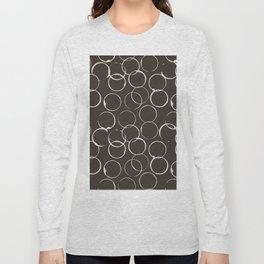 Circles Geometric Pattern Chocolate Brown Antique White Long Sleeve T-shirt