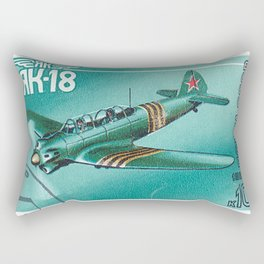 Postage stamp printed in Soviet Union shows vintage airplane Rectangular Pillow