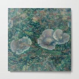 Blurry Blue Mushrooms Metal Print