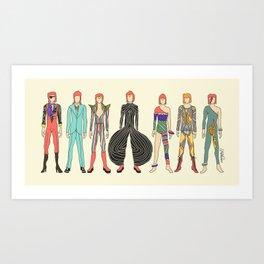 7 Red Heroes Heads Art Print